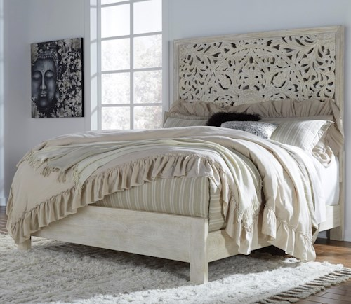 Signature Design by Ashley Bantori Solid Wood Queen Panel Bed with Hand Carved Details in White Finish