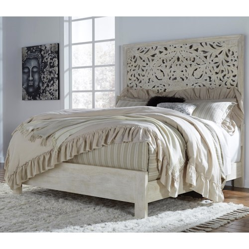 Signature Design by Ashley Bantori Solid Wood California King Panel Bed with Hand Carved Details in White Finish
