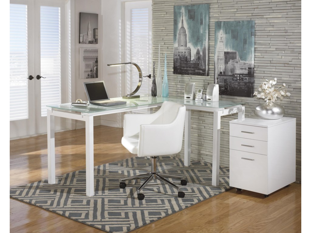Signature Design by Ashley BaragaL-Desk, Office Chair and File Cabinet Set