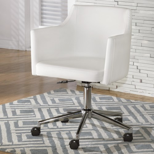 Signature Design by Ashley Baraga White Vinyl Home Office Swivel Desk Chair