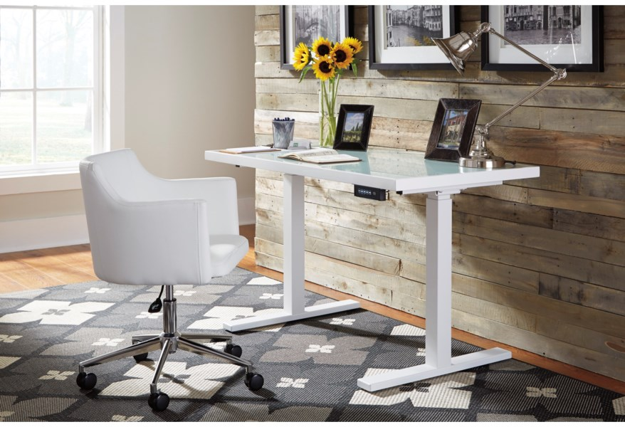 Signature Design By Ashley Baraga H410 01a White Vinyl Home Office Swivel Desk Chair Coconis Furniture Mattress 1st Office Task Chairs
