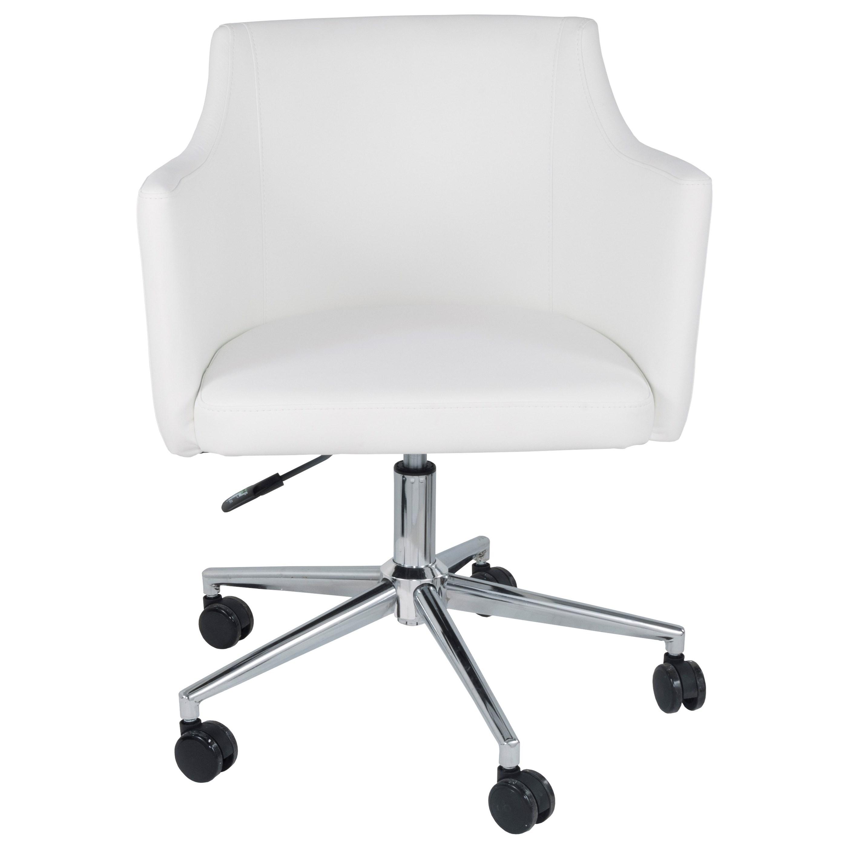 White Vinyl Home Office Swivel Desk Chair