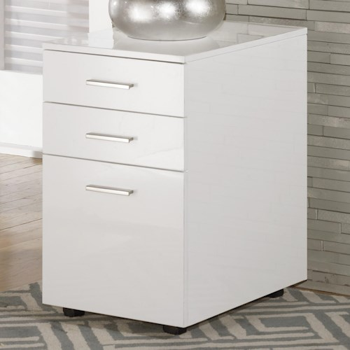 Signature Design by Ashley Baraga Full Gloss White File Cabinet with Casters