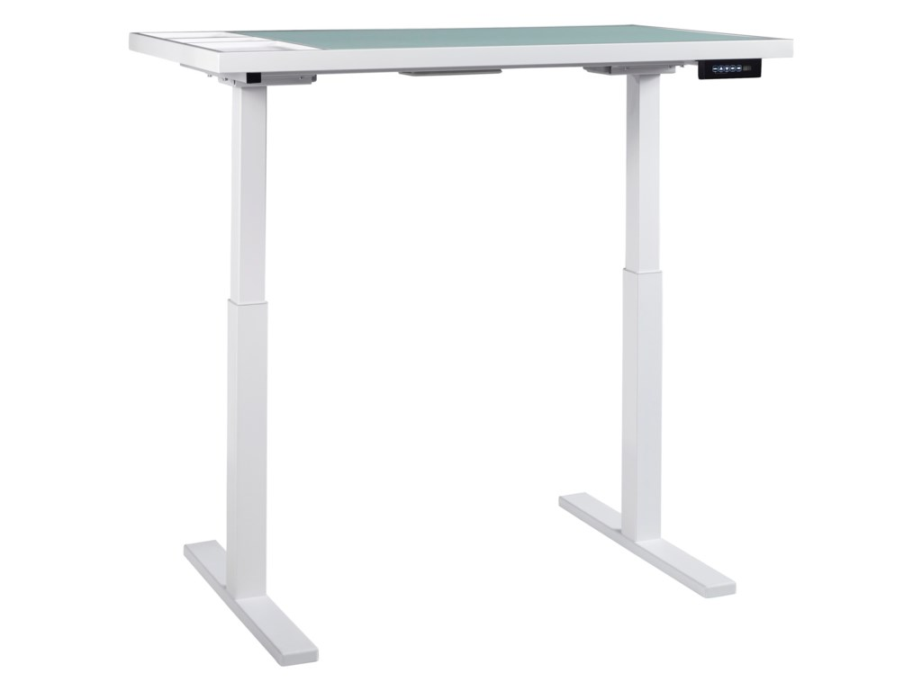 Baraga white finish standing desk adjustable height desk with electric powered lift by ashley signature design
