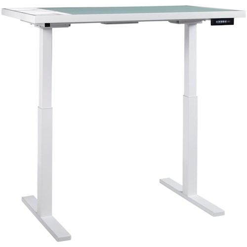 Signature Design by Ashley Baraga White Finish Standing Desk/Adjustable Height Desk with Electric Powered Lift