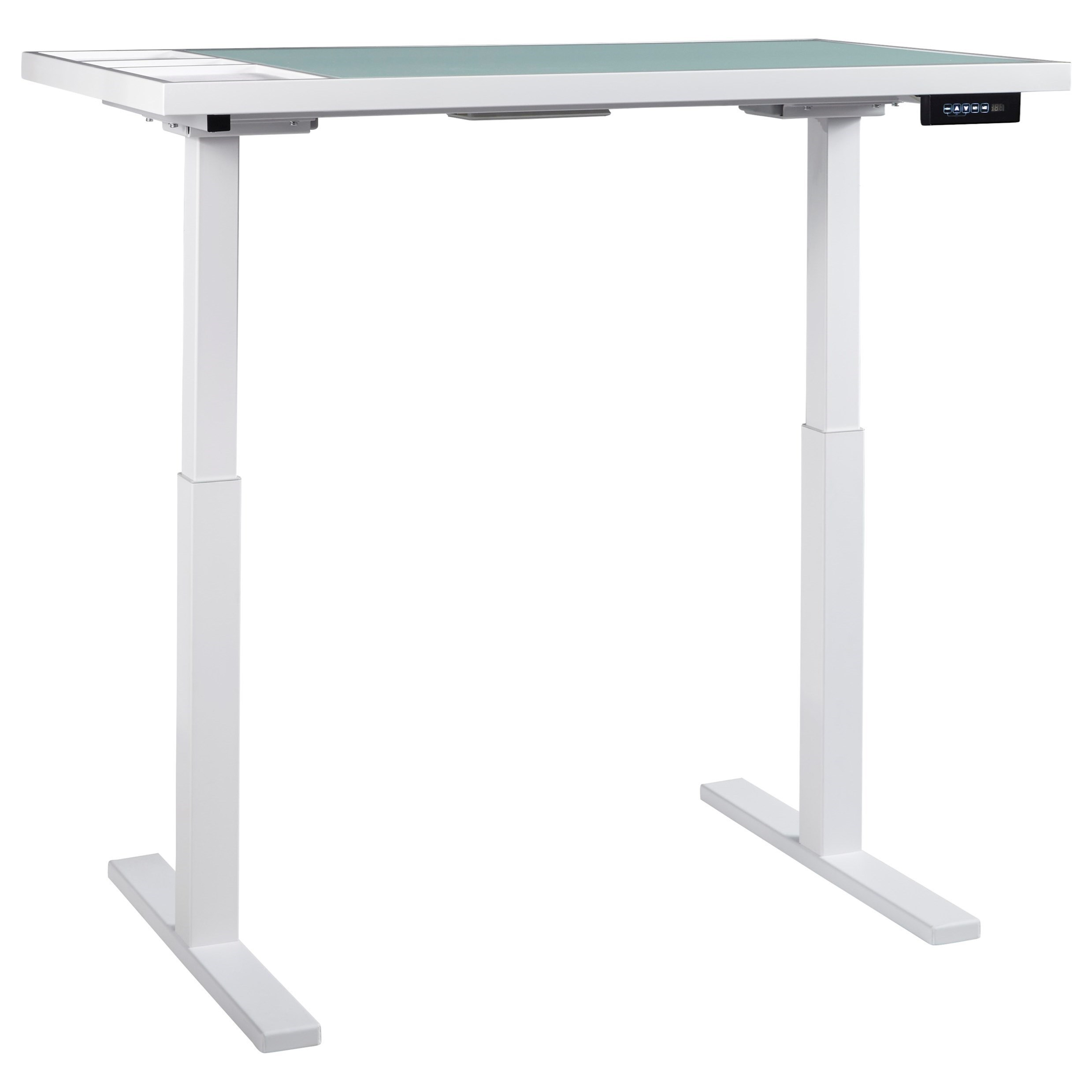Signature Design By Ashley Baraga White Finish Standing Desk/Adjustable Height  Desk With Electric Powered Lift   Royal Furniture   Table Desks/Writing  Desks