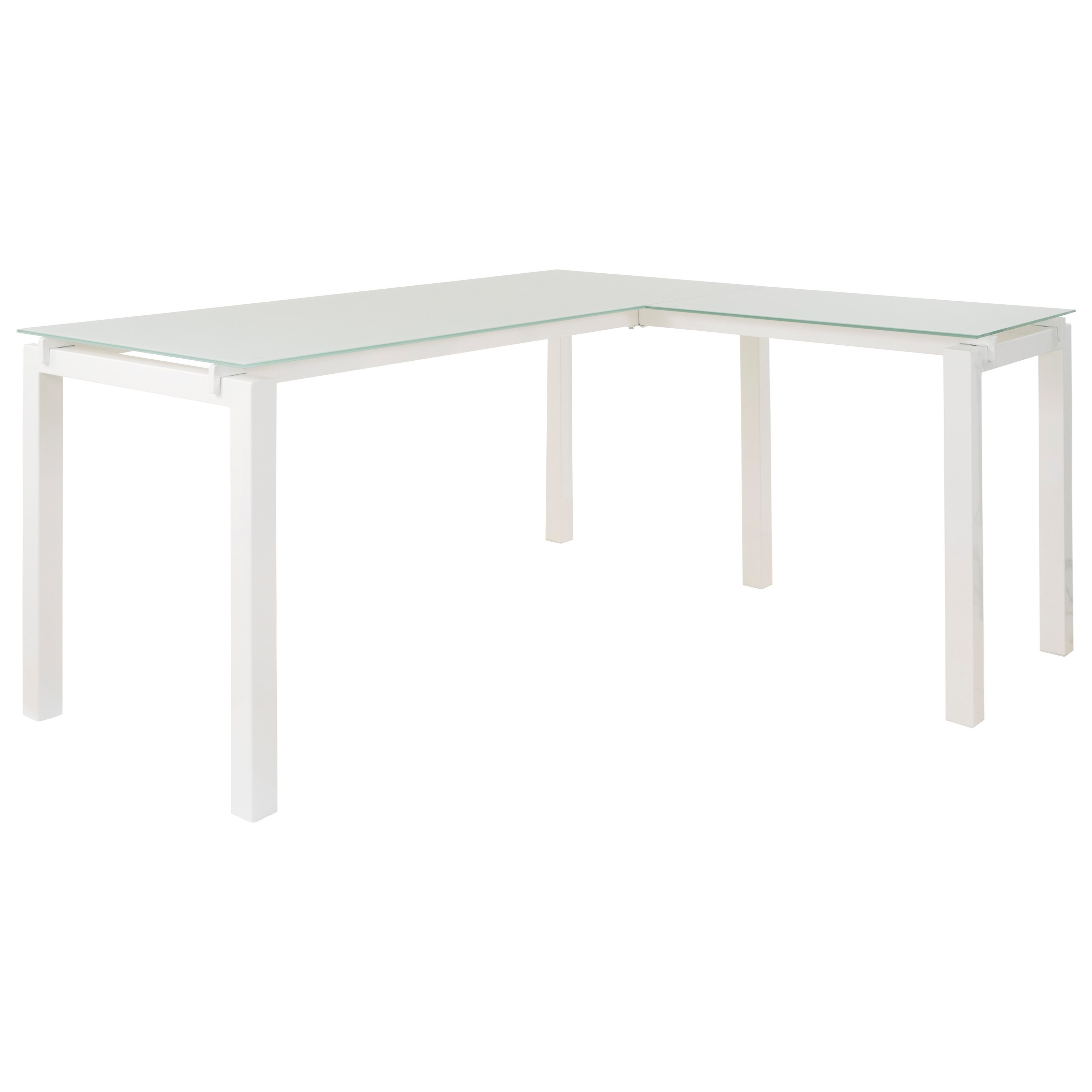 White Finish Metal L-Desk with Frosted Glass Top