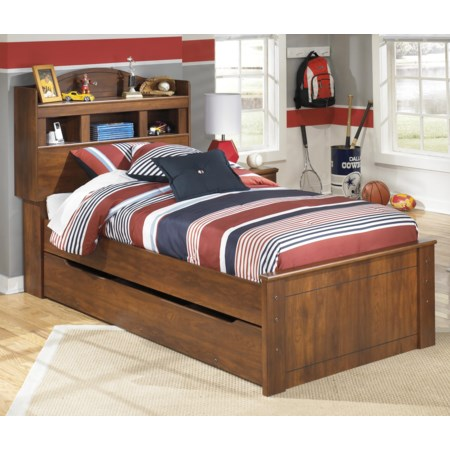 Twin Bookcase Bed with Trundle Storage Unit