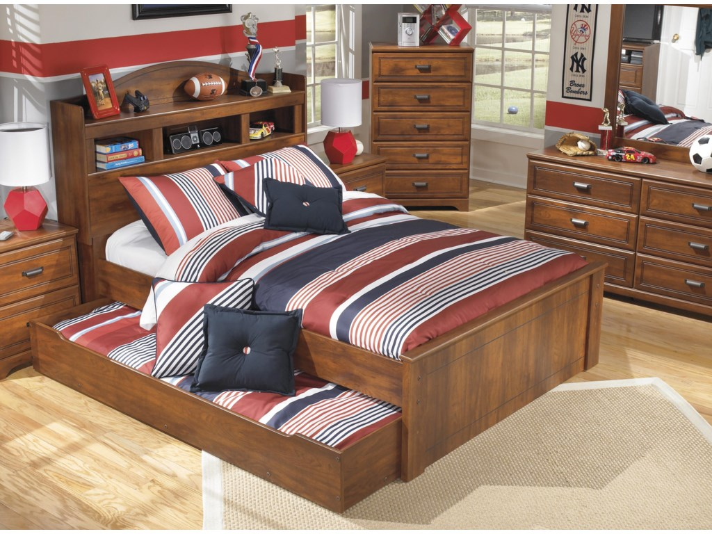 width threshold ashley design products look rustic with trinellfull signature trim bed full trinell bookcase under height storage item by