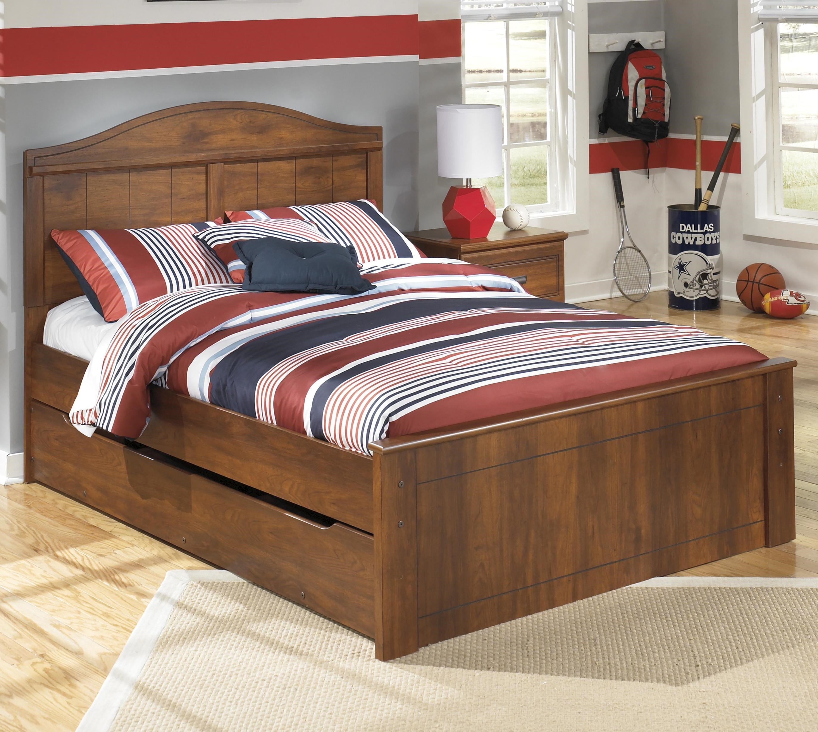 Full Panel Bed with Trundle Under Bed Storage Unit