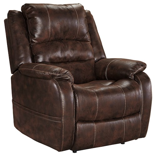 Signature Design by Ashley Barling Faux Leather Power Recliner w/ Adjustable Headrest