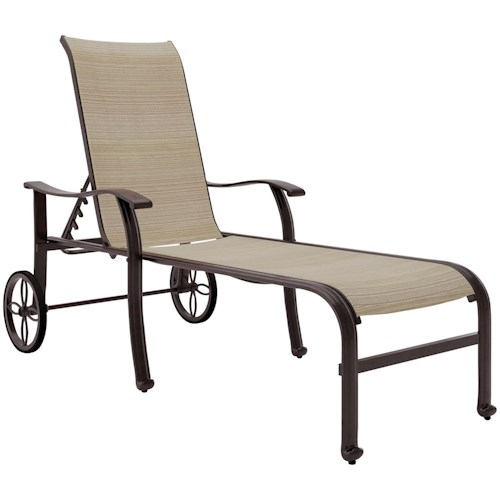 Signature Design by Ashley Bass Lake Sling Chaise Lounge with Wheels