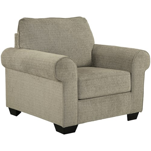 Signature Design by Ashley Baveria Chair with Large Rolled Arms & Chenille Fabric