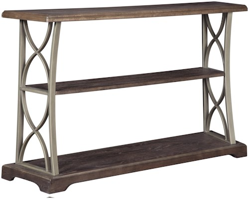 Signature Design by Ashley Baymore Wood and Metal Sofa Table with 2 Shelves