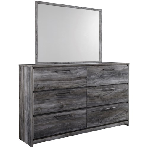 Signature Design by Ashley Baystorm Contemporary 6 Drawer Dresser and Mirror