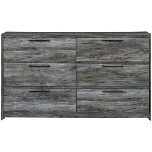 Signature Design by Ashley Baystorm Contemporary 6-Drawer Dresser with Finished Drawer Interiors