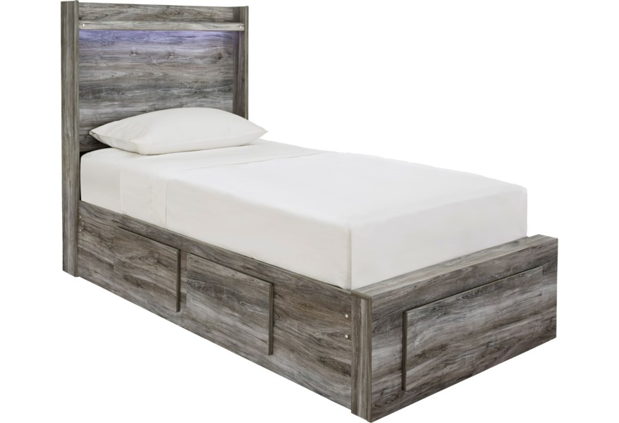 Baystorm Twin Storage Bed With 5 Drawers Dimming Led Light By Ashley Signature Design At Dunk Bright Furniture