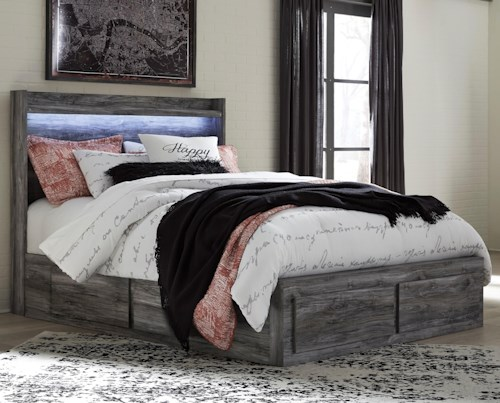 Signature Design by Ashley Baystorm Queen Storage Bed with 6 Drawers & Dimming LED Light