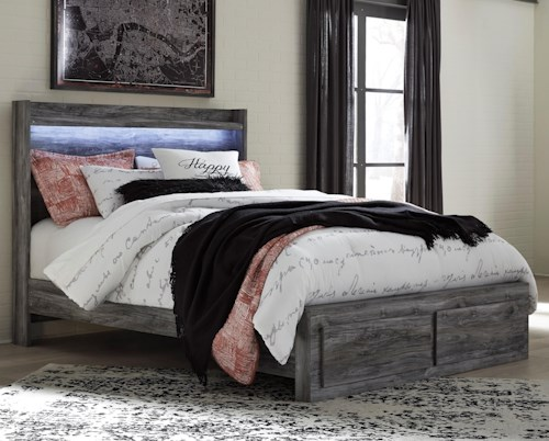 Signature Design by Ashley Baystorm Queen Panel Bed with Storage Footboard & Dimming LED Light