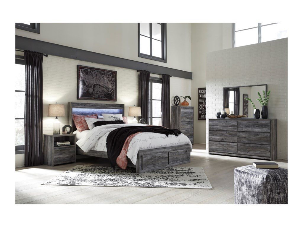 Signature Design by Ashley BaystormQueen Panel Bed with Storage Footboard