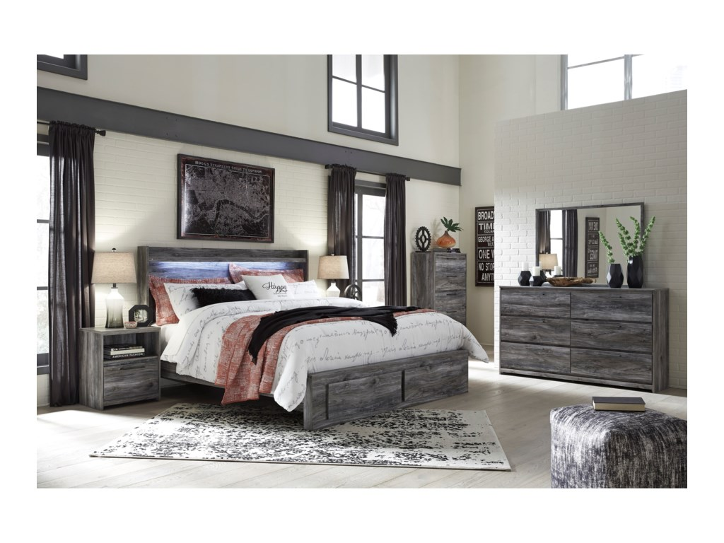 Signature Design by Ashley BaystormKing Panel Bed with Storage Footboard