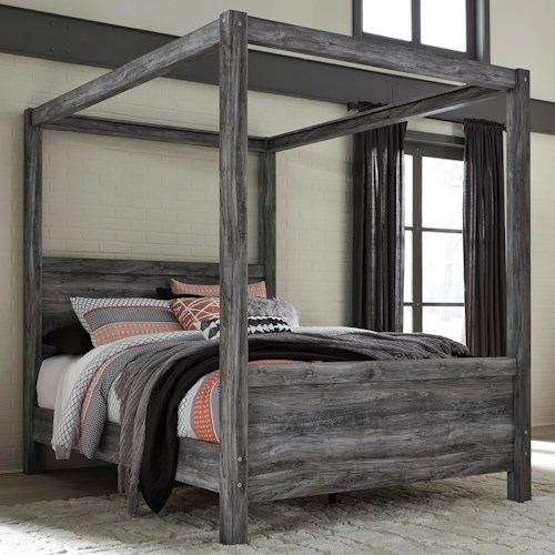Signature Design by Ashley Baystorm Queen Canopy Bed in Gray Finish