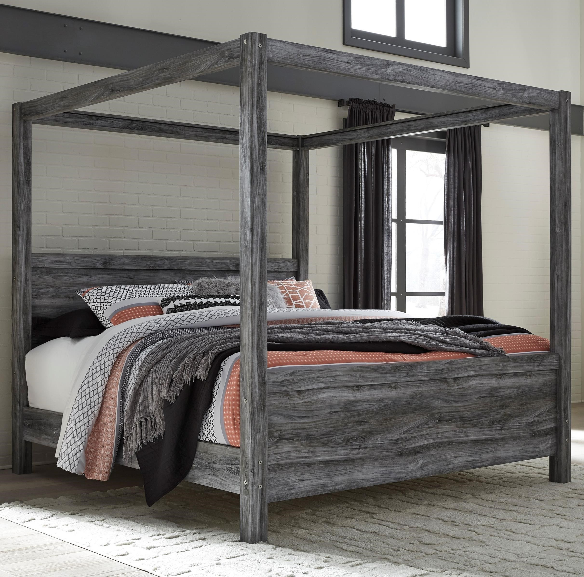Signature Design by Ashley Baystorm King Canopy Bed in Gray Finish | Royal Furniture | Canopy Beds  sc 1 st  Royal Furniture & Signature Design by Ashley Baystorm King Canopy Bed in Gray Finish ...