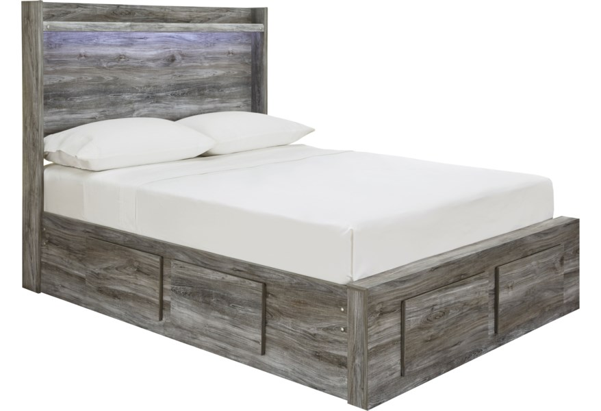 Signature Design By Ashley Baystorm Full Storage Bed With 6 Drawers Dimming Led Light Standard Furniture Platform Beds Low Profile Beds