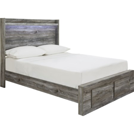 Full Panel Bed with Storage Footboard
