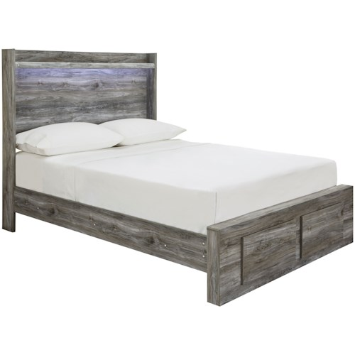 Signature Design by Ashley Baystorm Full Panel Bed with Storage Footboard & Dimming LED Light
