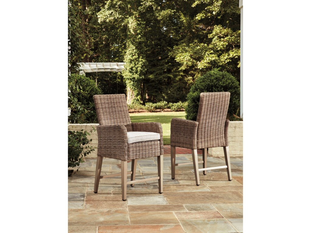 Signature Design by Ashley BeachcroftSet of 2 Outdoor Barstools with Cushions