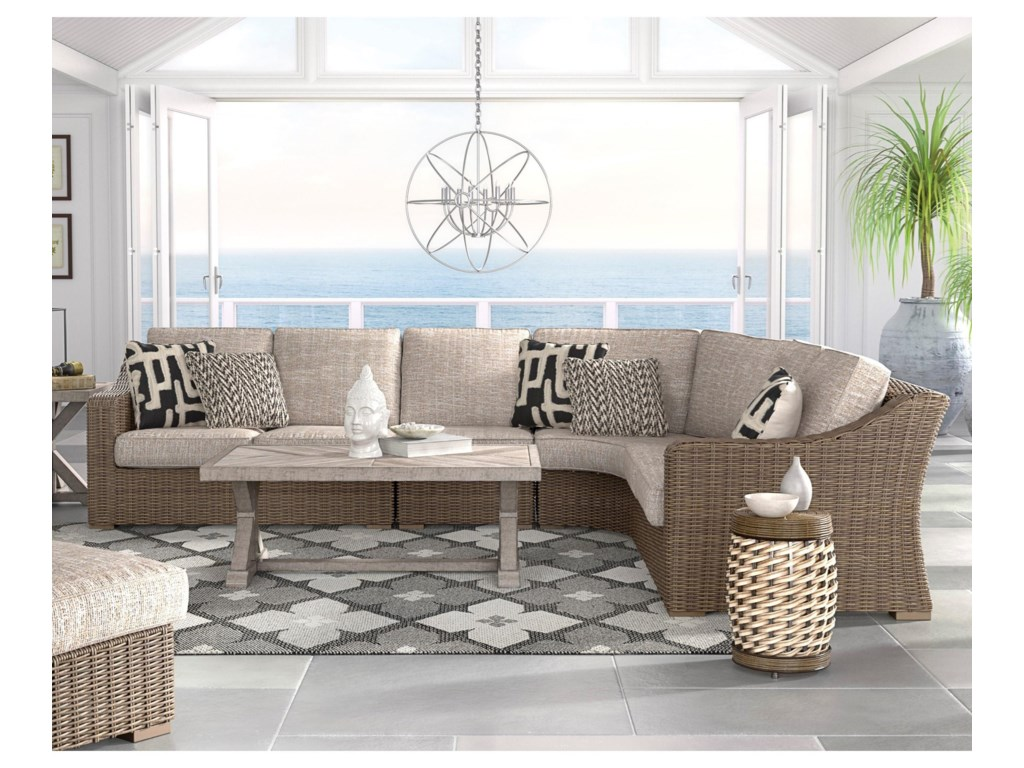 Signature Design by Ashley Beachcroft3 Piece Resin Wicker Sectional Set