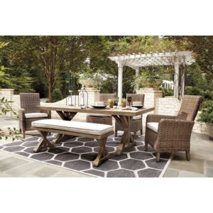 Ashley Signature Design Beachcroft P791 625 600 601 601a 6 Piece Outdoor Dining Set Dunk Bright Furniture Outdoor Dining Sets