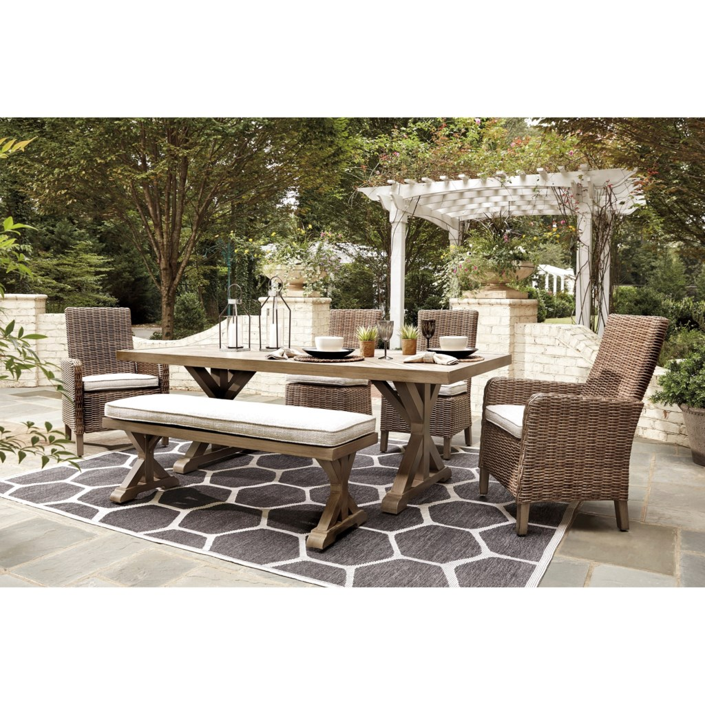 Signature Design By Ashley Beachcroft 6 Piece Outdoor Dining Set