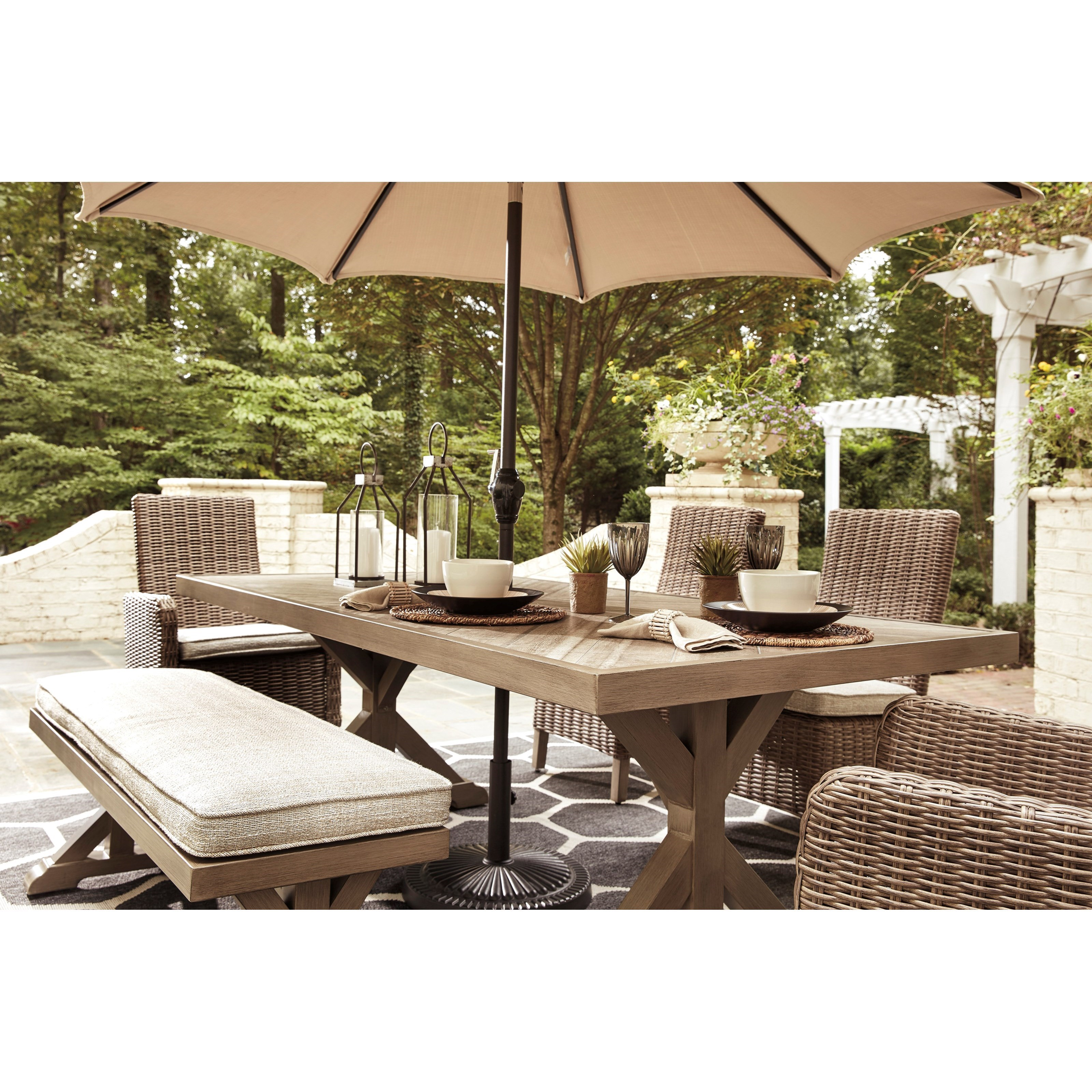 Umbrella Sold Separately; Signature Design By Ashley Beachcroft6 Piece Outdoor  Dining Set