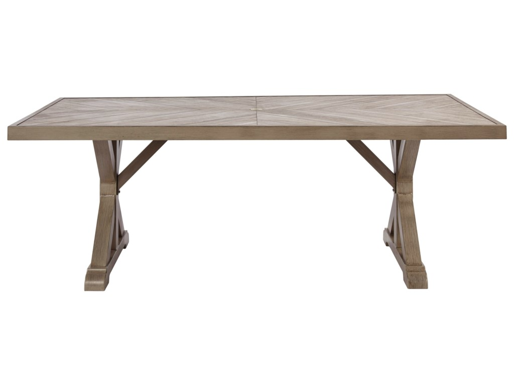 Signature Design by Ashley BeachcroftRectangular Dining Table w/ Umbrella Option