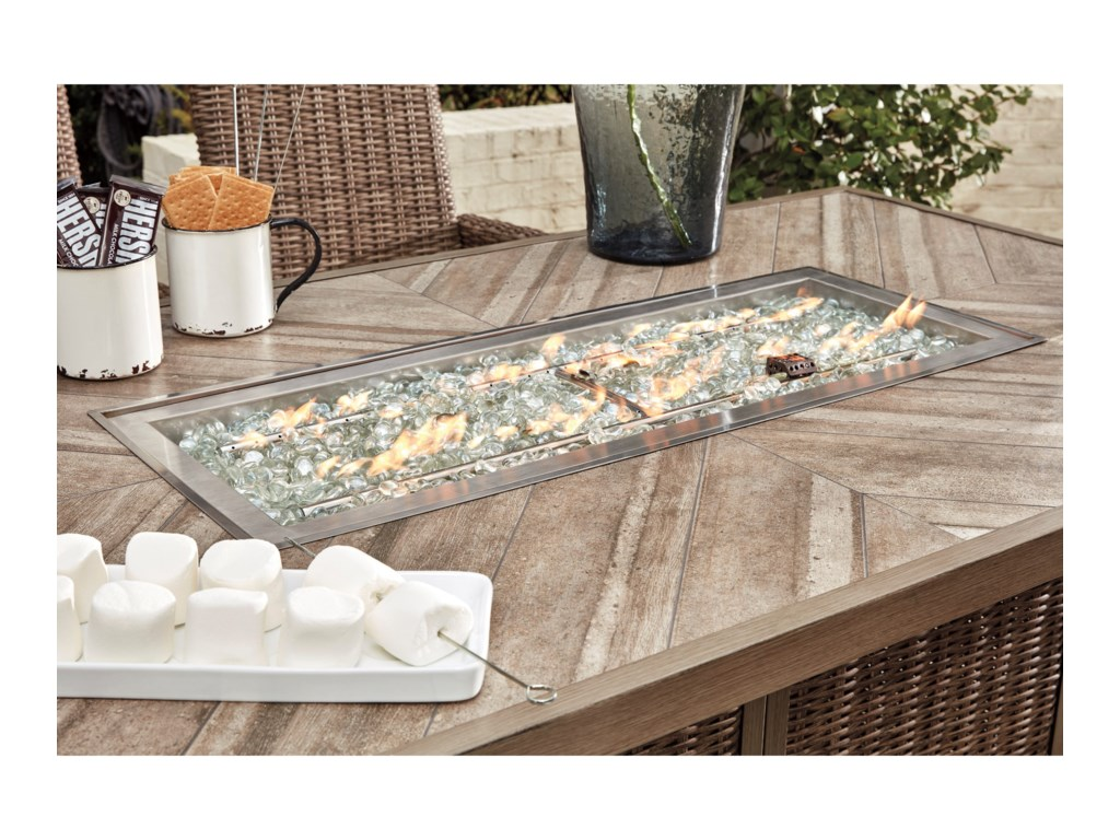 Benchcraft Beachcroft5 Piece Outdoor Bar Fire Pit Table Set
