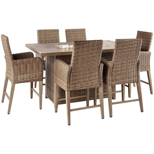 Signature Design by Ashley Beachcroft 7 Piece Outdoor Bar Fire Pit Table Set