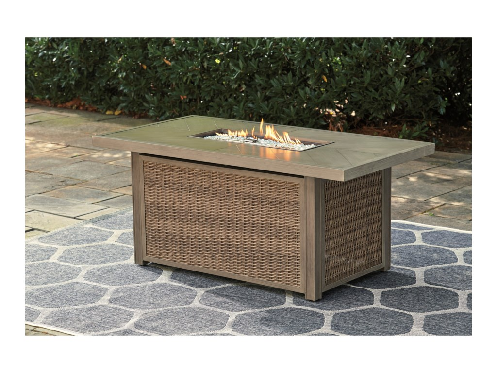 Signature Design By Ashley Beachcroft Rectangular Fire Pit Table Royal Furniture Outdoor Fire Pits