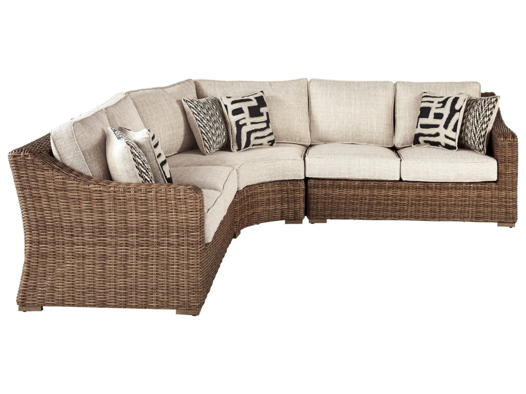 Ashley Signature Design Beachcroft 4 Piece Resin Wicker Sectional