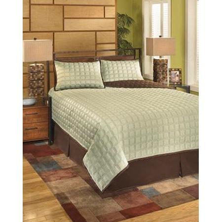 Queen Gridlock Thistle Top of Bed Set