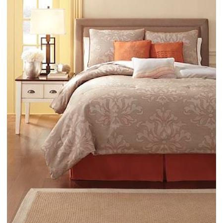 King Flowerdale Neutral Top of Bed Set