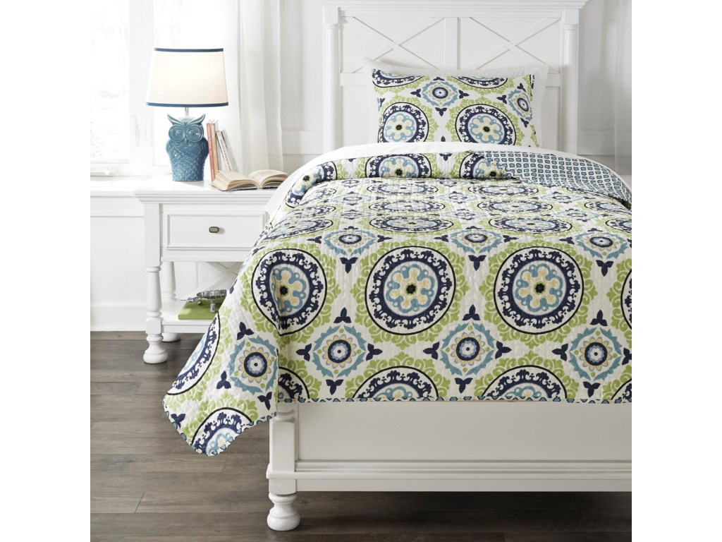Ashley (Signature Design) Bedding SetsTwin Danesha Blue/Green Coverlet Set