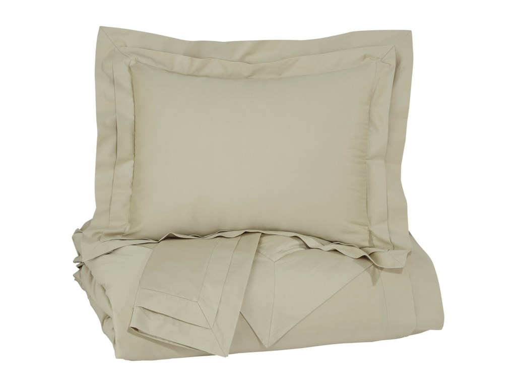 Signature Design by Ashley Bedding SetsQueen Chamness Sand Duvet Cover Set
