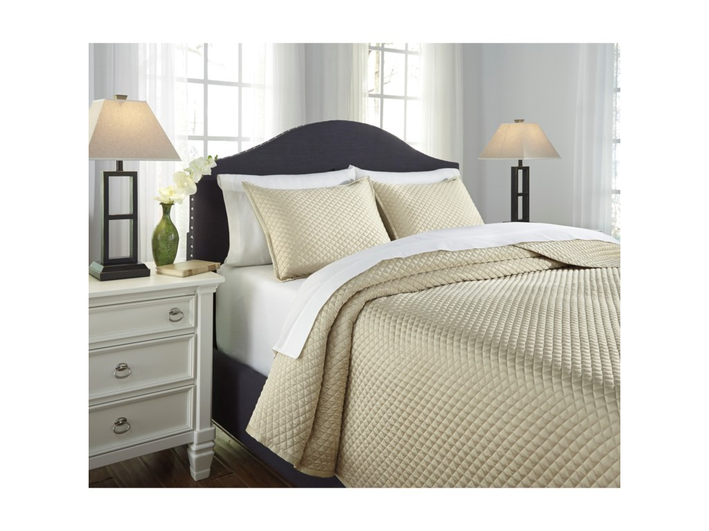 Signature Design by Ashley Bedding SetsKing Dietrick Sand Quilt Set