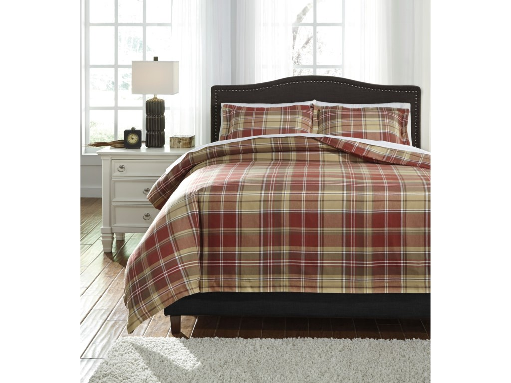Signature Design by Ashley Bedding SetsQueen Danail Red/Gold/Green Duvet Cover Set