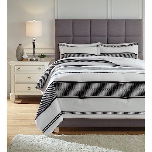 Signature Design by Ashley Bedding Sets King Masako Black/Cream Comforter Set