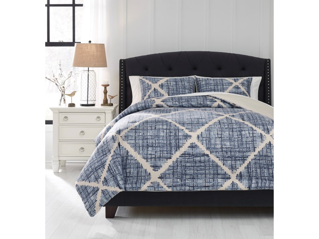 Signature Design by Ashley Bedding SetsQueen Sladen Blue/Cream Comforter Set