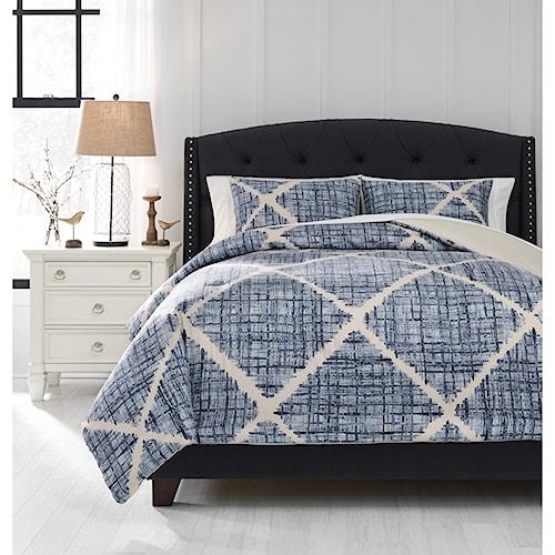 Signature Design by Ashley Bedding Sets King Sladen Blue/Cream Comforter Set