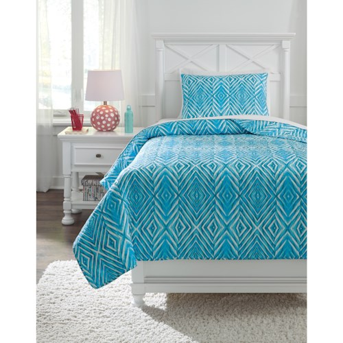 Signature Design by Ashley Bedding Sets Twin Jolana Turquoise Quilt Set